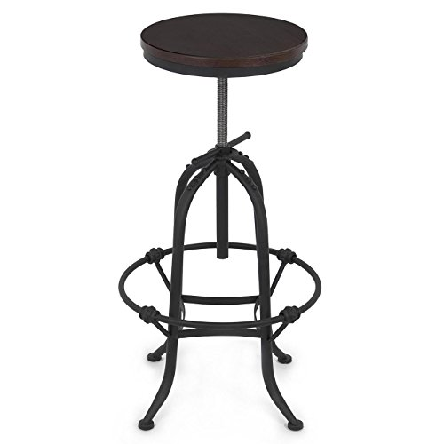 Belleze Vintage Bar Stool Industrial Rustic Style Wood Seat Adjustable Height Swivel Top