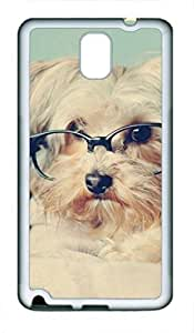 Samsung Galaxy Note 3 Case, iCustomonline Cute Lomo Vintage Pup With Glasses Soft Back Case Cover Skin for Samsung Galaxy Note 3 N9000 - White