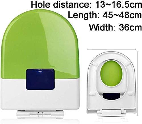 トイレ蓋便座、抗菌ミュート付きU/V/Oタイプ厚手ファミリー便座、超耐性、トイレの付属品を簡単に取り付けることができます、緑-45〜48 * 36cm
