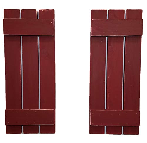 Countryside Rustic Pair of Decorative Board and Batten Shutters Available in 20 Colors - Shown in Sundried Tomato Red - Choose from 4 sizes 40