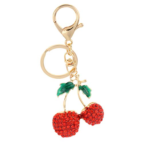 NATFUR 2pcs Rhinestone Alloy Lovely Keychains Hanging Pendant Cherry Ballet Girl Pretty Novelty Key-Chain for Women Cute Holder for Gift Novelty Great Fine Goodly