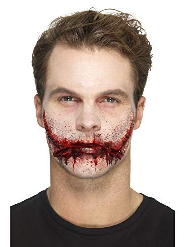 Adults Ladies Mens Halloween Special Effects Make Up Stitched Smile Prosthetic Scary Gruesome Fancy Dress Costume Accessory