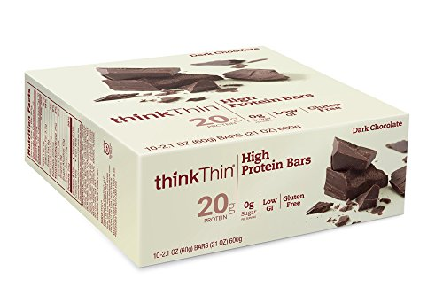 ThinkThin High Protein Bars, Dark Chocolate, 2.1 Ounce (pack of 10)