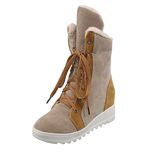 up Low Short Boots Shoes Women's Flat Yiiquan Booties Splicing Color Light Heel Warm Lace Brown 5UnXZnqw
