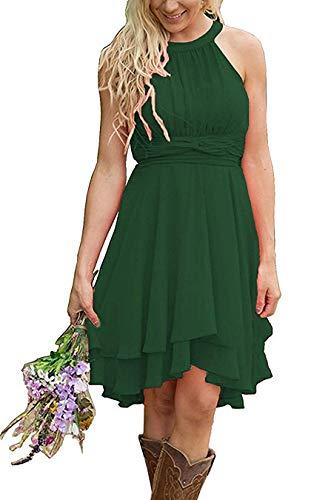 Faxpox Women's Hi-Lo Bridesmaid Dresses Short Halter Chiffon Pleated Beach Wedding Party Dress 2019 Dark Green US0