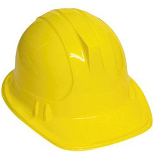 [Mens Fancy Dress Party Hat Imitation Construction Worker's Plastic Helmet Yellow] (Man Construction Worker Costume)