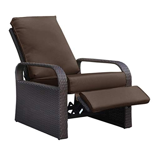 Outdoor Wicker Recliner, Patio Recliner Adjustable Chair with 5.11