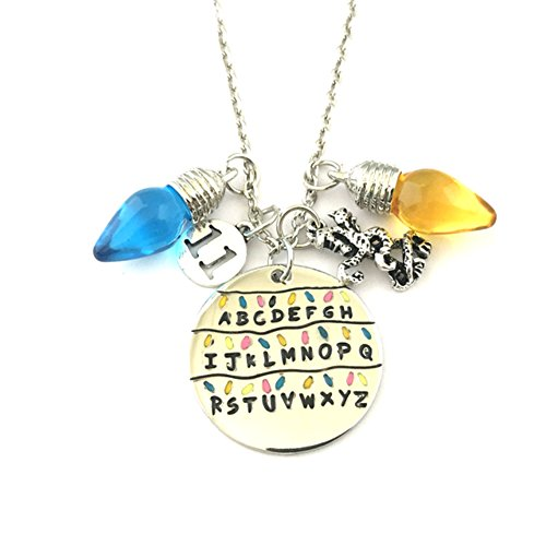 Stranger Things TV Show Light Bulbs and Charms A-Z NECKLACE