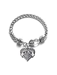 WWJD 1 Carat Classic Silver Plated Heart Clear Crystal Charm Bracelet Jewelry