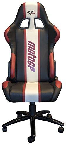 Paddock Noir Inclinable Motogp Cuir Blanc Chaise Rouge Pivotante PZOTuXik