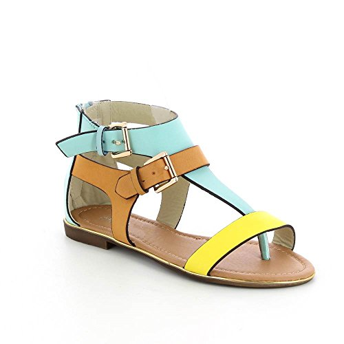 Go Mode - Sandalias planas color block - Mujer amarillo