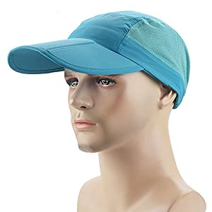 Ezyoutdoor Waterproof Collapsible Motion Hat Fishing Jungle Hat Outdoor Sunscreen Baseball Cap Long Brim Cap Fishing Hat for Fishing Hunting Camping Swimming Hiking,One Size Fit Most (Blue)