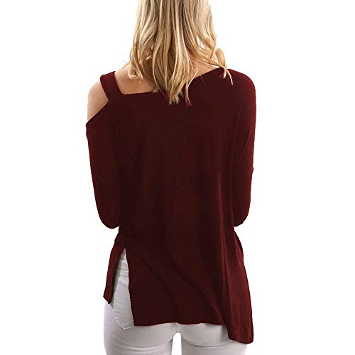 Slim Mode Basic Longue Haut Shoulder Longues Off Burgund Tunique Blanc lgant Printemps Loisir Fit Manches Blouse Shirt Tops Femme Unicolore Shirts Automne qvqT8r