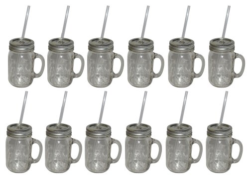Southern Homewares 12-Pack Redneck Sipper Handle Drinking Jar, 16-Ounce by Southern Homewares