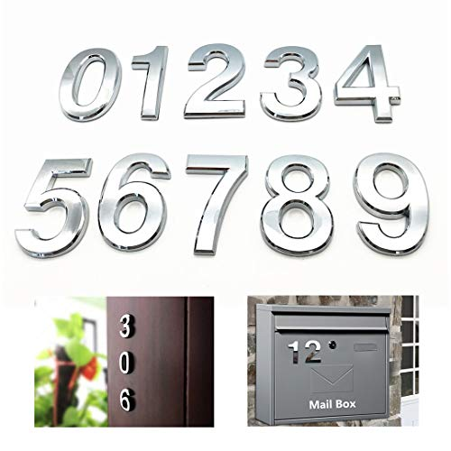 10 Pcs House Door Numbers 0-9 Address Stickers for Apartment Mailbox Room Self Stick Shining Silver 2 3/4 inches High
