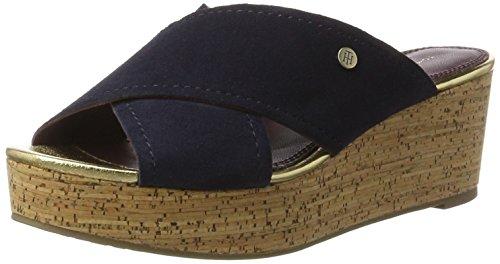 Tommy Hilfiger E1285lmy 21b, Sandalias con Cuña Para Mujer Azul (Tommy Navy 406)