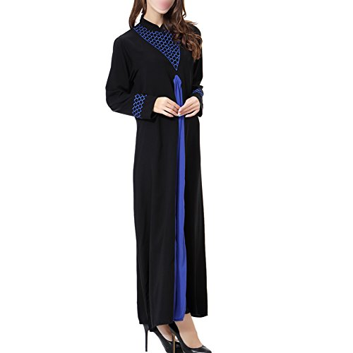 islámico Abaya noche Dubai Medio Mujer Ayustar Apparel Boda Manga larga Azul Maxi Suelto Oriente Kaftan Musulmán TH901 Vestido Cóctel de Robe Vestido Turquía Hzjundasi 70qUYY