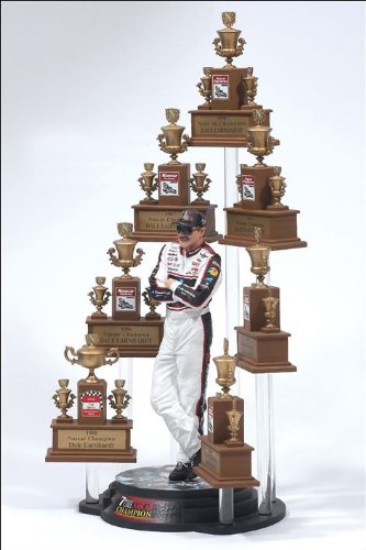 Dale Earnhardt Sr GM Goodwrench NASCAR Seven 7 Time Champion Action Figure & NASCAR (No Winston Cup Logos) Facsimile Champion Trophy Set McFarlane - Time Winston Cup