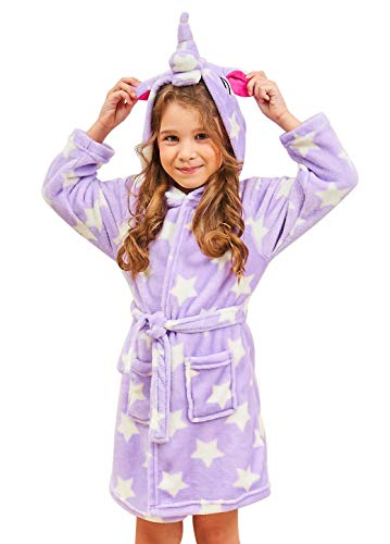 Soft Unicorn Hooded Bathrobe Sleepwear - Unicorn Gifts for Girls (10-11 Years, Purple Star)
