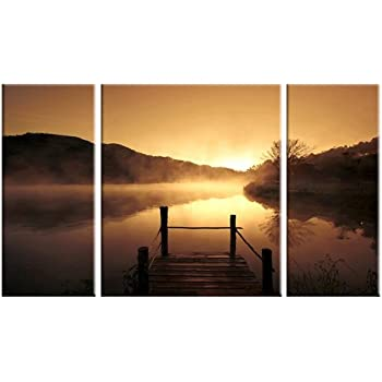 Wieco Art Canvas Prints Wall Art Sunset Beach Picture Paintings for Living Room Bedroom Decor Home Decorations Misty Lake 3 Piece Modern Stretched and Framed Contemporary Giclee Landscape Artwork
