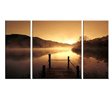 Wieco Art Canvas Prints Wall Art Sunset Beach Picture Paintings Living Room Bedroom Decor Home Decorations Misty Lake 3 Piece Modern Stretched Framed Contemporary Giclee Landscape Artwork