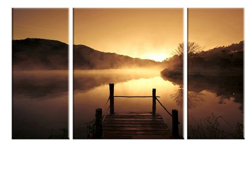 Wieco Art Canvas Prints Wall Art Sunset Beach Picture Paintings Living Room Bedroom Decor Home Decorations Misty Lake 3 Piece Modern Stretched Framed Contemporary Giclee Landscape Artwork (Grey Decor And Home Brown)
