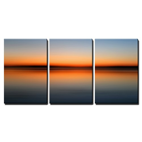 """Wall26 - 3 Piece Canvas Wall Art - Abstract Colorful Motion Blurred Sunset on Sea - Modern Home Decor Stretched and Framed Ready to Hang - 24\""""x36\""""x3 Panels"""