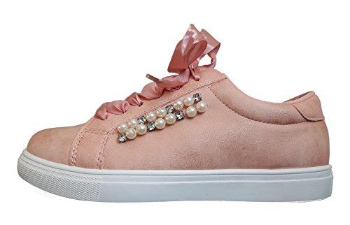 Hailys Sneaker Low Platform Rose Rosa Weiße Sohle Damen-Schuhe Sneakers Gr. 41 Perlen-Applikation Dekosteine Schnürer Sportschuhe Größe 41 Vegan Lederfrei Leicht Plateau