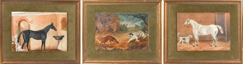 A Grey Horse in a Stall, A Hound Chasing a Fox and A Black Horse in a Stall;