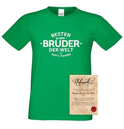 Bruder Geschenkeset Fun-T-shirt zu Weihnachten oder zum Geburtstag mit GRATIS Urkunde - Bester großer Bruder der Welt Farbe: hellgrün Gr: S