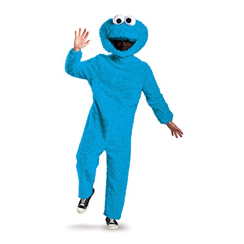 Disguise Men's Full Plush Cookie Monster Prestige Adult Costume, Blue, XX-Large -