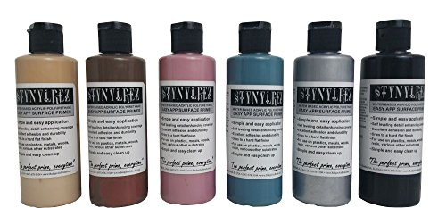 lrez Airbrush Primer 6 Tone Pack 4oz. / 120ml Light Flesh, Ebony Flesh, Oceanic Blue, Dull Pink, Metal, Black Gloss (Ebony Metal Finish)