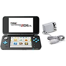 Nintendo 2DS XL Bundle (2 Items): Nintendo New 2DS XL (Black + Turquoise) and Tomee AC Adapter