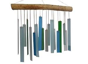 Azul para colgar de vidrio reciclado y campana de viento de madera