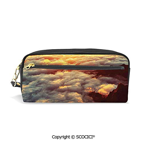 Girls Boys 3D Printed PU Pencil Case Holders Bag with Zipper Sunset on The Hill Tops Above The Clouds Unusual Extreme Morning Glory Print Stationery Makeup Cosmetic Bags Back to School]()