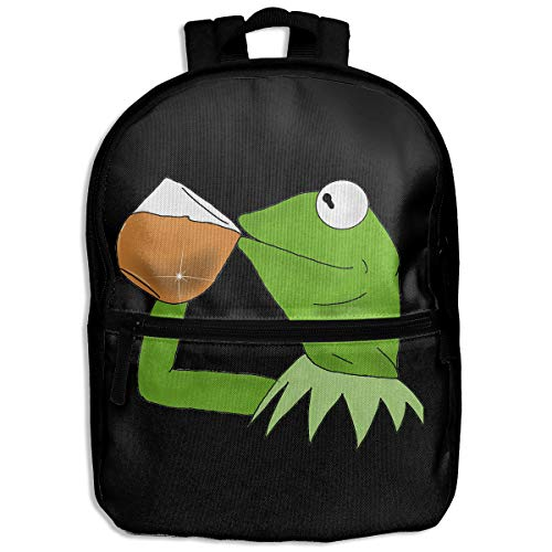 Kids Backpack Kermit The Frog Sipping Tea School Hiking Travel Shoulder Bag Small Daypack For Boys Girls