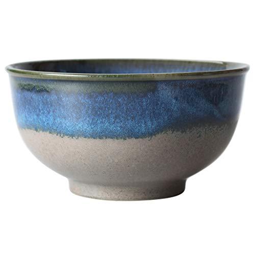 - Blue Ramen Bowls Ceramic Drink Porridge Bowl Beautiful Bowls Round Rice Bowl Large Grain Bowl Dessert Bowl (Color : Blue, Size : 17.59.5cm)