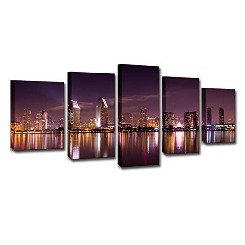 Mytinaart Art - Modern Wall Art San Diego California Skyline Purple Sky Night Scenery Posters Paintings Canvas Prints 5 Piece City View Pictures for Home Decor Living Room - with -