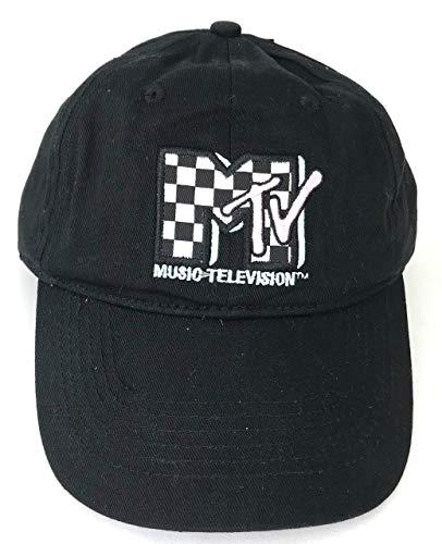 (MTV Classic 80s Checkerboard Logo Baseball Cap Mens Black)