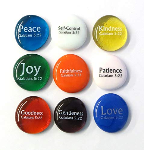 Stone Scripture (Lifeforce Glass Fruit of the Spirit Glass Stones, 9 Beautiful Rocks, Each With a Word From the Galatians 5:22 Verse. Inspiring Christian Education Tool From)
