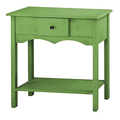 """Manhattan Comfort Jay Collection Modern Wooden Sideboard Table with One Drawer and One Shelf, Green - Perfect Size: This Wooden Entryway Table Has Ideal Dimensions of 35.5"""" x 31.5"""" x 13.5"""" and Weighs Only 29 lbs., Making it Easy To Place in Any Entryway of Your Home. The Elegant Design Makes it a Necessary Addition to the Entryway of Any Room in Your Home. It is a Multifunctional Piece of Furniture and With the Perfect Dimensions, You Cannot Go Wrong With It Durable Craftsmanship: Constructed With Durable Pine Wood, This Piece Has Been Designed to Be Long Lasting For Several Years to Come. The Finished Piece Comes in Multiple Varieties That Enhance The Appeal and Make it a Must Have. The Storage and Drawers are Ideal for Your Home and You Simply Cannot Go Wrong With This Purchase Modern Design: The Jay Collection Introduces a Beautifully Crafted Piece. The Durable Wood Makes it Ideal. The Dimensions Make it Perfect and the One Drawer and One Shelf Makes it a Necessity to Have. Enhance Your Décor While Decluttering Your Home With the Available Storage Space. The Bottom Shelf is a Has a Practical Use of Storing Shoes or Umbrellas so That They Are Easily Accessible on The Go - sideboards-buffets, kitchen-dining-room-furniture, kitchen-dining-room - 410cvYxxSiL. SS400  -"""