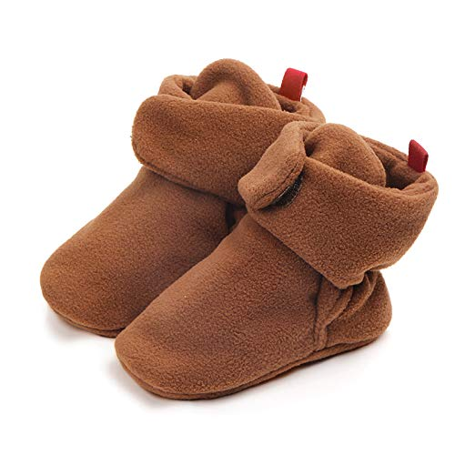 Century Star Fleece Unisex-Baby Booties Cozy Infant Shoes Toddler Slippers Easy to Put for Newborn Dark Brown M(6-9 Months)