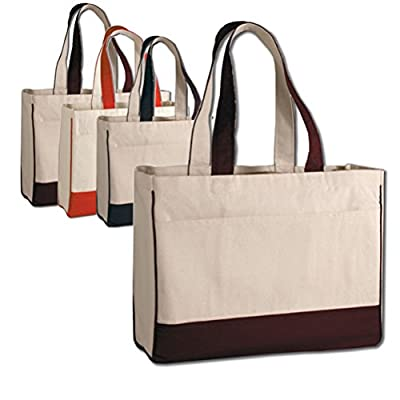 "17"" Two Tone Cotton Canvas Shopping Tote Bag w/Large Front Pocket Pool Beach Travel Tote Bag Eco-Friendly"