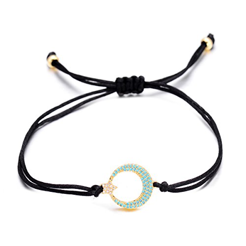 VEKNO Crescent Moon Star CZ Bracelet Charms Adjustable String Braided Bracelet Handmade (Black) (Star Moon Bracelet)