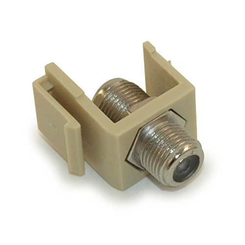 MyCableMart Wall Plate: Keystone Jack - Coax F-Type/RG-6 or RG-59, Ivory