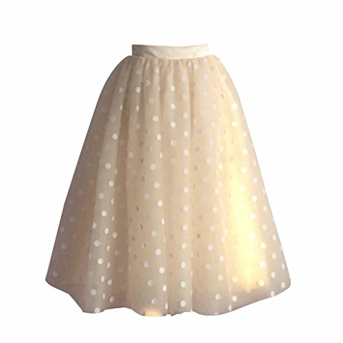 flowerry Women Polka Dot Tulle Knee Length Skirt Wedding Party Champagne Skirt XS (Polka Dot Tulle Skirt)