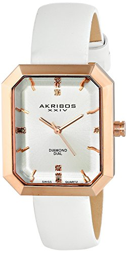 Akribos XXIV Women's AK749WTR Swiss Quartz Movement Watch with Silver Sunburst Effect Dial and White Leather over Nubuck Leather Strap