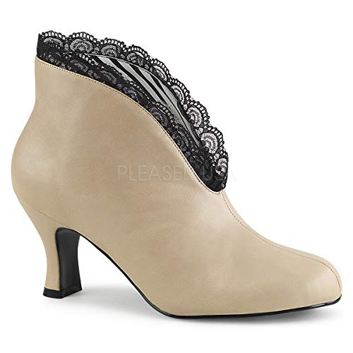 Pleaser Pink Label Women's Jenna105/Crpu-Lc Ankle Bootie, Cream Faux Leather-Blk Lace, 13 M US