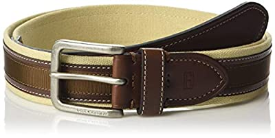 Tommy Hilfigher Men's Ribbon Inlay Belt - Fabric Belt with Single Prong Buckle