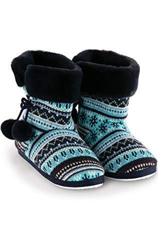 Addison Meadow Bootie Slippers for Women Cute Slippers for Women, Blue, MD 8-9 (Womens Size 9 Slipper Boot)